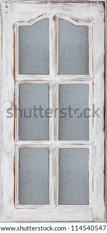 An old wood door panel with glass white paint and grunge, Full Frame