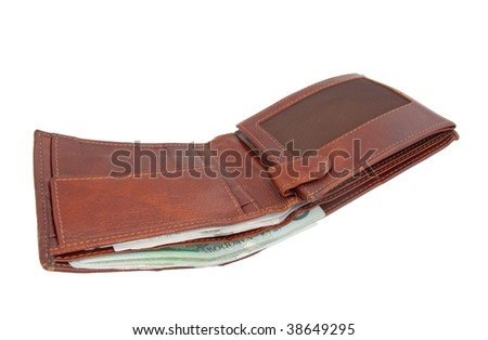 An open brown leather wallet with bank notes visible