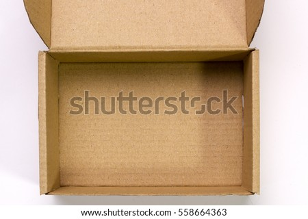 An open cardboard box on a white background