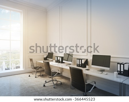 An open space office, tables with computers arranged along the wall, panoramic window with city view to the left. Concept of work. 3D rendering