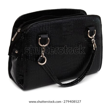 An open vintage black leather doctor's bag isolated on a white background