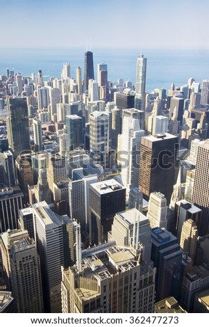 An overhead view of the great city of Chicago taken from the Willis (Sears) Tower