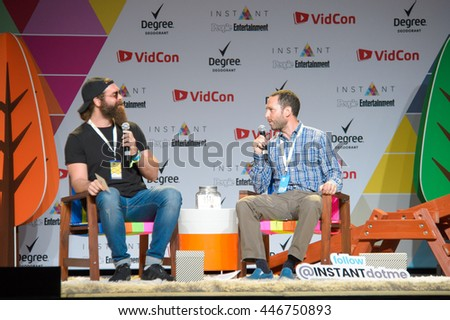 Anaheim, CA - June 23: Harley Morenstein (L) answers questions during the 7th annual VidCon conference at the Anaheim Convention Center in Anaheim, California on June 23, 2016