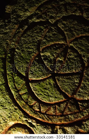 Ancient archeology with mystical inscriptions found in a tomb in northern israel