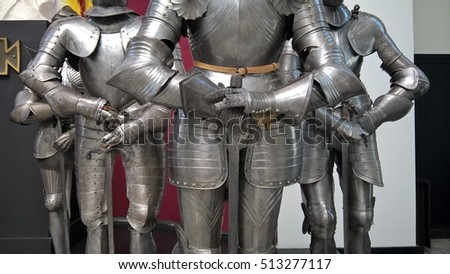 Ancient armor of knights, corresponding to another age.