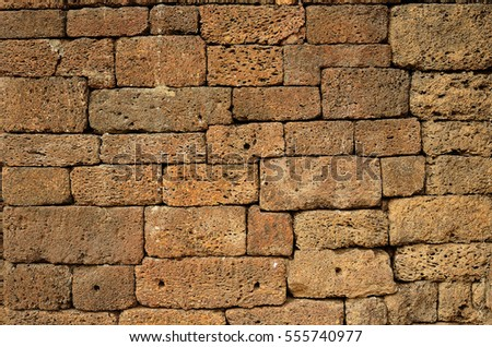 Ancient Block wall, South East Asia.