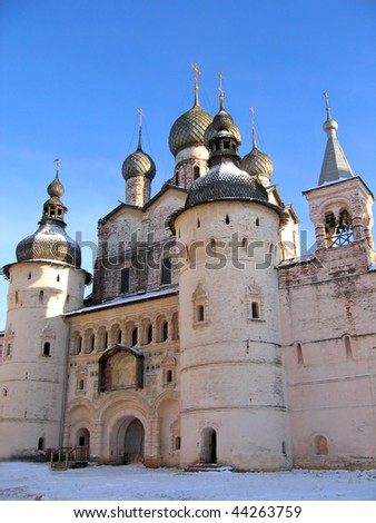 Ancient castle and cathedral. Rostov Kremlin, Russia