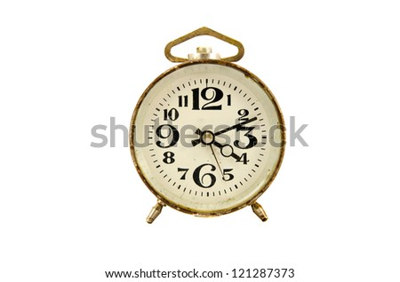 ancient clock isolated on white background