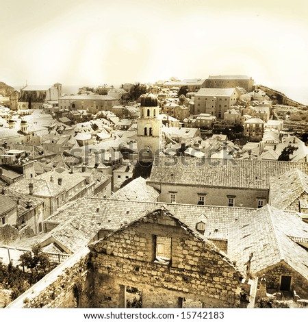ancient Dubrovnik view - toned picture in retro style