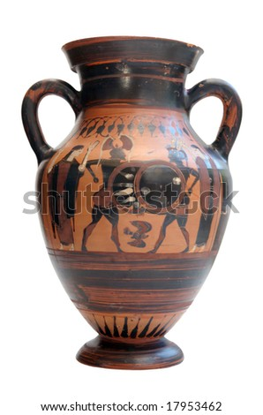 Ancient greek amphora isolated on white