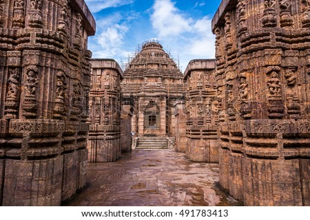 Ancient Indian architecture at Konark Sun Temple. This historic temple was built in 13th century and is a world heritage site.