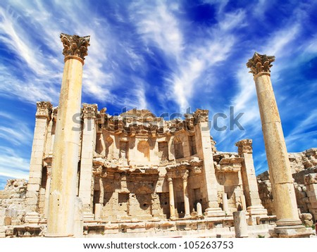 Ancient Jerash. Ruins of the Greco-Roman city of Gera at Jordan