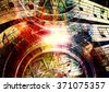 Ancient Mayan Calendar and  Music note, Cosmic space with stars, abstract color Background, computer collage - stock photo