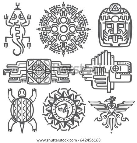 African Mexican Aztec American Tribal Vector Stock Vector