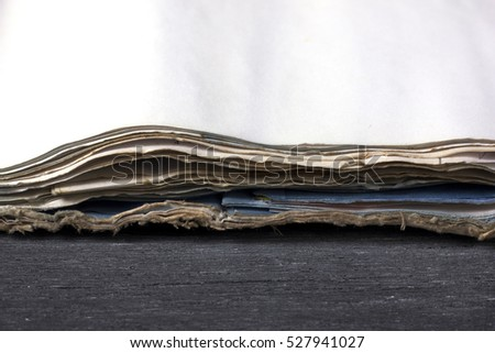 Ancient paper on the wood texture background, paper with blank pages, Blank paper on wooden, Blank pages, Dirty paper