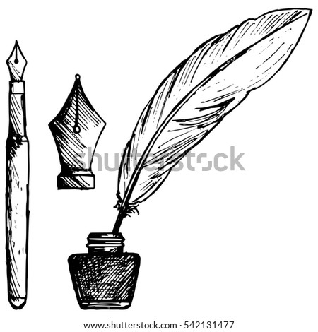 Ancient pen, inkwell and old ink pen. Isolated on white background. Raster version