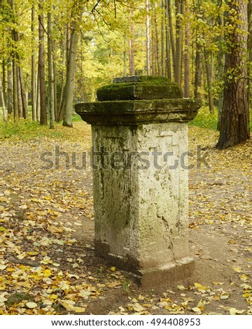 ancient pillar from the gate stands in the forest.