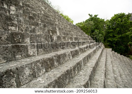 ancient pyramid stone stairs with green trees in the background