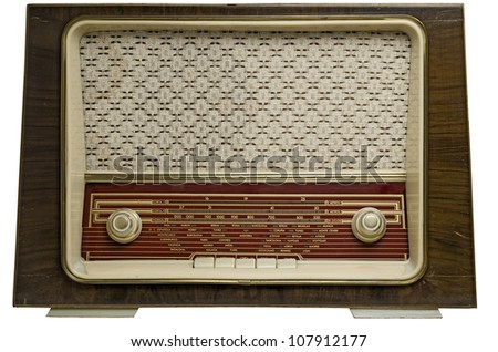Ancient radio, 50's, isolated on white background