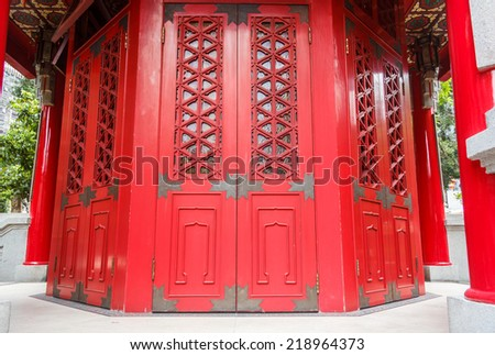 Ancient Red Chinese Temple Door