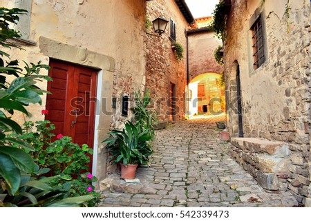 ancient street in the historic village of Montefioralle in Tuscany