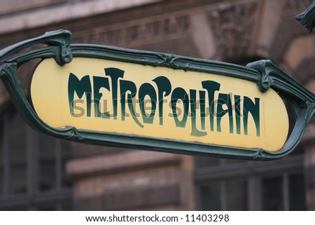 Ancient subway sign in Paris (France)