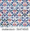 Ancient tile pattern on ceramic wall in Blue Mosque in Istanbul, Turkey. Series - stock photo