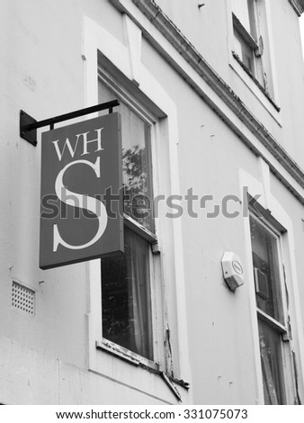 Andover, High Street, Hampshire, England - October 22, 2015: W H smiths, British retailer selling books, stationery, magazines, newspapers and entertainment products