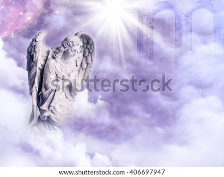 angel with a star and rays of light over a purple sky
