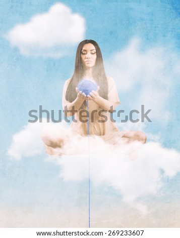Angel with the thread of destiny sitting on the cloud