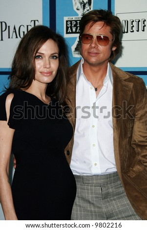 Angelina Jolie and Brad Pitt at the 2008 Film Independent Spirit Awards at Santa Monica Beach, Santa Monica, California