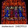 Angels Drums Pipes Colorful Stained Glass Mission Dolores Saint Francis De Assis San Francisco California - stock photo