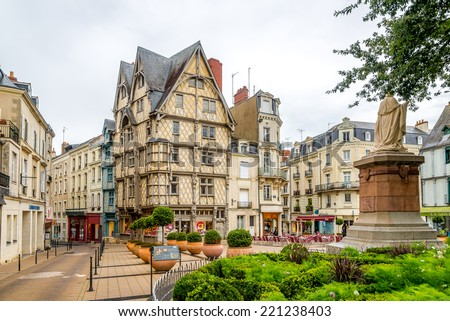 ANGERS, FRANCE - AUGUST 25,2014 - Timbered Adams house in Angers. Angers is the historical capital of Anjou and was for centuries an important stronghold in northwestern France.