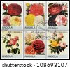ANGOLA - CIRCA 2000: Collection stamps shows roses, circa 2000 - stock photo