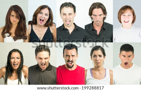 Angry adults screaming in aggression multiple faces in composition