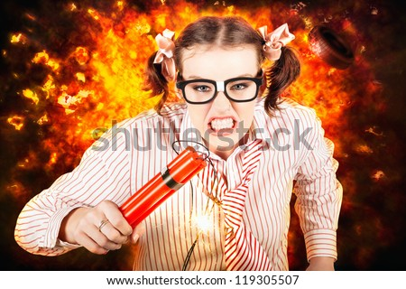 Angry Business Person Running With Stick Of Dynamite From A Exploding Fire Bomb While Under Explosive Stress