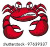 Angry crab with claws in cartoon style for mascot or emblem design. Vector version also available in gallery - stock vector