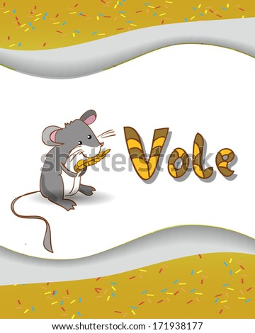 ... alphabet letter V and vole with a colored background - stock photo