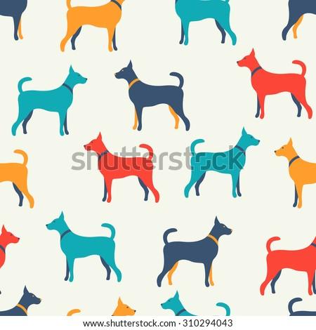 Animal Seamless Pattern Dog Silhouettes Stock Illustration