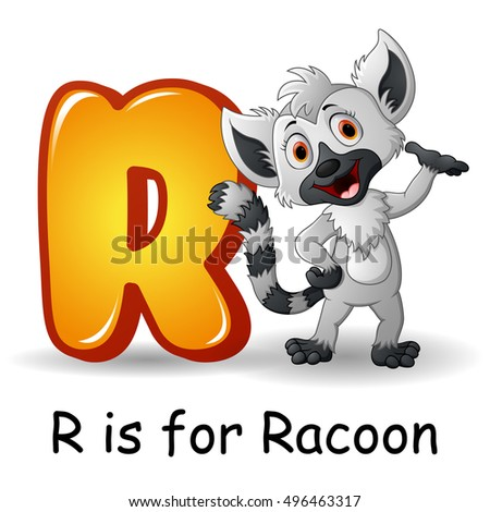 R Is For Raccoon Cartoon Mouse Lies On ...