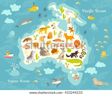 Animals World Map Australia Australian Animals Stock Vector - Australian map of the world