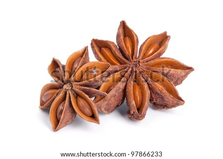 Anise star (Illicium verum) isolated on white background. Also called Star aniseed, or Chinese star anise. Used as a spice in cuisines all over the world. The plant is also used in medicine.