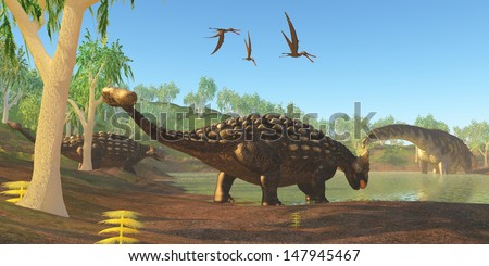 Ankylosaurus - Two Ankylosaurus dinosaurs come down to a swamp to drink as an Argentinosaurus grazes on duckweed.