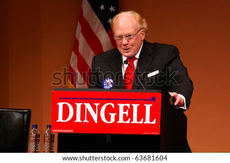 "ANN ARBOR, MI - OCTOBER 24: Michigan Supreme Court Justice Alton Davis speaks in support of Congressman John Dingell of Michigan at a ""get out the vote"" rally on October 24, 2010 in Ann Arbor, MI"