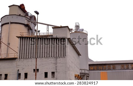 ANORGA,SPAIN-JUNE 02, 2015: Old cement factory continued active as a symbol of local industrial activity on June 02, Spain.