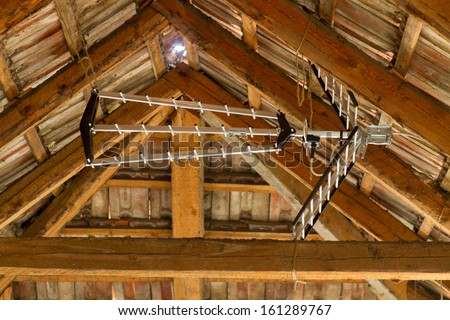 Building Attic Interior Roofing Construction Indoor Stock