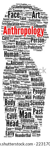 Anthropology word cloud shape concept
