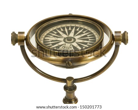 Antique Brass Ships Compass and Stand Closeup