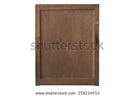 Antique cabinet wood door on white back ground