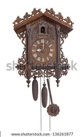 Antique cuckoo clock, (made in 1798), isolated for creative background